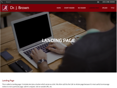 SS of landing page
