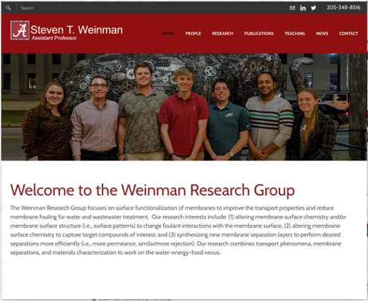 Weinman site home page